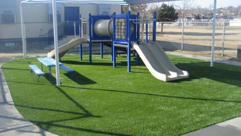 Playground, Artificial Turf, and Shade Awning Shelter
