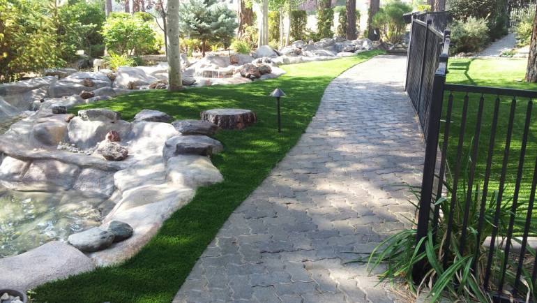 Artificial Turf with Path and Rocks